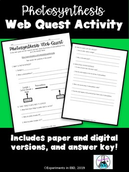 Photosynthesis Web Quest
