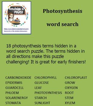 Photosynthesis Word Search (18 terms hidden)