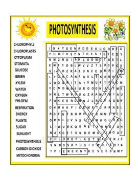 Photosynthesis Word Search Puzzle or Wordsearch