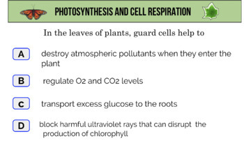 Photosynthesis and Cell Respiration Digital Task Cards
