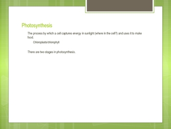 Photosynthesis and Cellular Processes