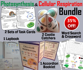 Photosynthesis and Cellular Respiration Activities and Task Cards Bundle