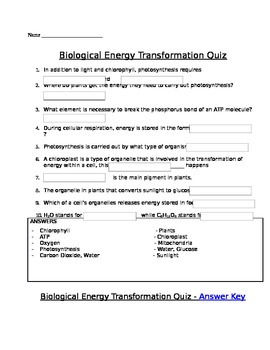 Photosynthesis and Cellular Respiration Assessment (Quiz)