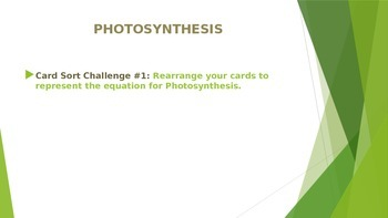 Photosynthesis and Cellular Respiration Card Sort Power point