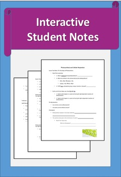 Photosynthesis and Cellular Respiration Lesson 2 Powerpoint with Student Notes