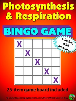 Photosynthesis and Respiration Bingo Review Game