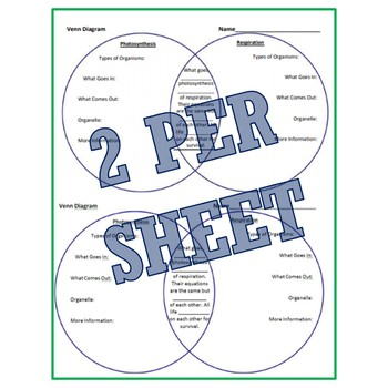 Photosynthesis and Respiration Venn Diagram Worksheet NGSS MS-LS2-3