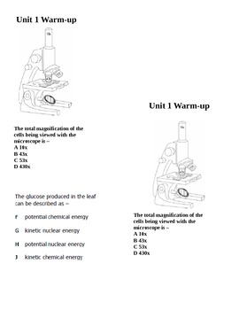 Photosynthesis and microscope warm-up