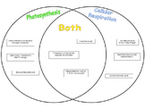 Photosynthesis vs Cellular Respiration Card Sort - Advanced