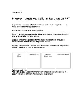 Photosynthesis vs. Cellular respiration PowerPoint student directions