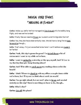 Phrasal Verb Worksheet for Intermediate ELL - The Arrival (Dialogue Story)