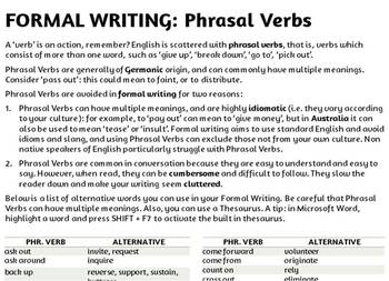 Formal Alternatives to Phrasal Verbs word list (Formal Writing)