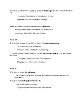 Phrasal Verb notes - Set