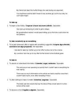 Phrasal Verb notes - Take