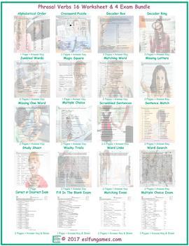 Phrasal Verbs 16 Worksheet- 4 Exam Bundle