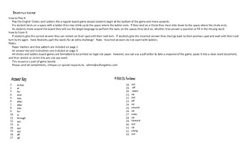 Phrasal Verbs #2 Legal Size Text Chutes and Ladders Game