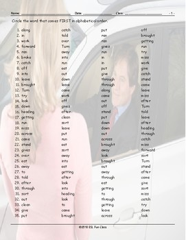 Phrasal Verbs Alphabetical Order Worksheet