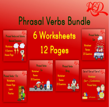 Grade 1 Grammar: Phrasal Verbs Worksheets Printable Bundle Free Preview