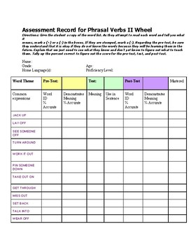 Phrasal Verbs II,  Student Assessment Record