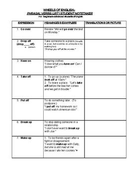 Phrasal Verbs List One  EXERCISES, STUDENT NOTETAKER, STUDYGUIDE, WORD BANK