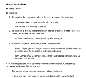 Phrasal Verbs Notes Bundle