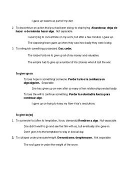 Phrasal Verbs notes - Give