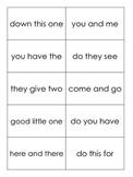Phrase Flash Cards- Kindergarten or First Grade- Printable