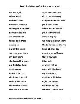 Phrase Fluency Practice Sheets