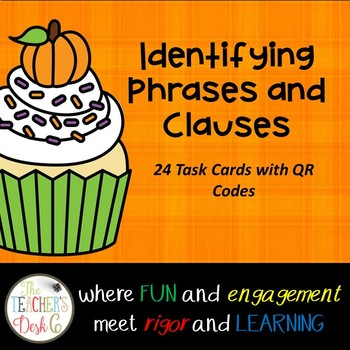 Phrase or Clause? Halloween Theme Task Cards with QR Codes