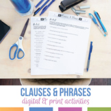 Distance Learning: Phrases and Clauses Digital Grammar Worksheets, Presentation