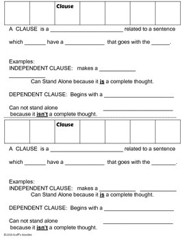 Phrases, Clauses, Sentence Types:  Guided Note Organizer