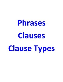 Phrases, Clauses, Types of Clauses