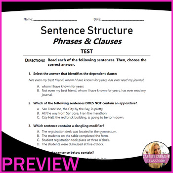 Phrases | Clauses | Types of Sentences | Fragments & Run-ons | 100 MCQs | Gr 7-8