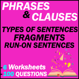 Phrases   Clauses   Types of Sentences   Fragments & Run-ons   100 MCQs   Gr 7-8