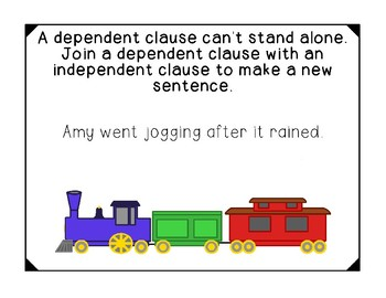 Phrases Dependent and Independent Clauses Printable Posters Sentences Activity