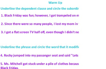 Phrases and Clauses ActivInspire activity