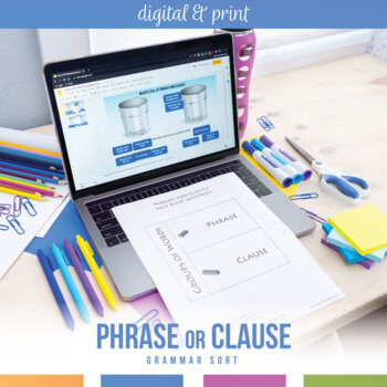 phrases and clauses interactive notebook pieces and scramble tpt