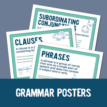 Phrases and Clauses: 40 Task Cards, Posters, and Quiz