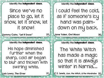 Phrases and Clauses Task Cards Winter