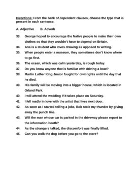 Phrases and Clauses Test