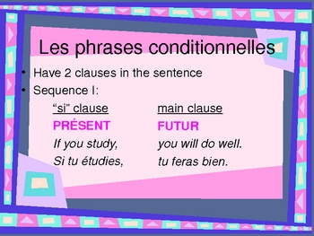 Phrases conditionnelles (Sentences with SI in French) power point