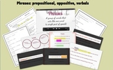Phrases (prepositional, appositives, & verbals): Video, Notes, and Assessments