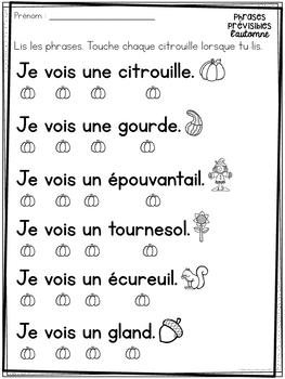 Correspondance mot à mot - L'automne (FRENCH Autumn 1:1 correspondence)