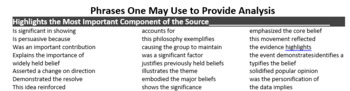 Phrases to Use to Help Provide Analysis