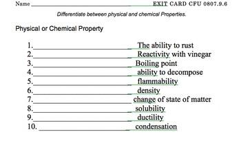 Phsyical & Chemcial QUIZ