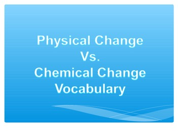 Phyical Change vs. Chemical Change Power Point