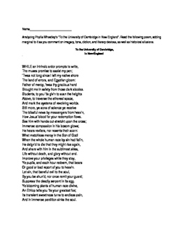 Phyllis Wheatley To the University of Cambridge Poem Analysis