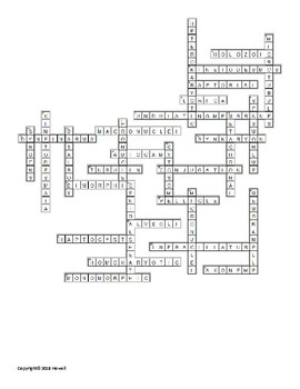 Phylum Ciliophora Vocabulary Crossword for Invertebrate Biology