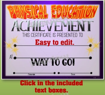 Phys. Ed. Certificate 3 - Fillable