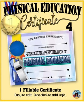 Phys. Ed. Certificate 4 - Fillable